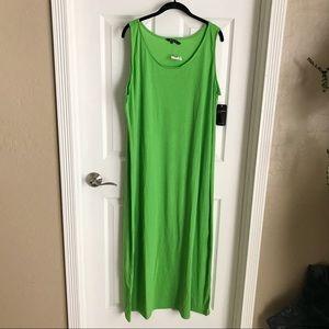 2X T-Shirt Maxi Dress Bright Lime Green NWT